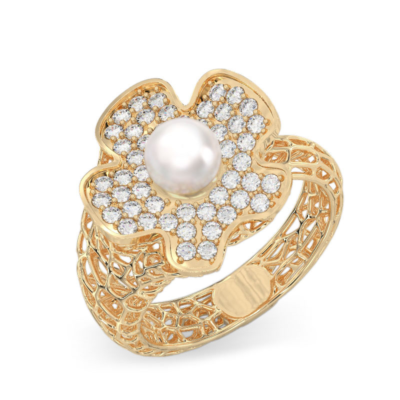 Coral Flower With Pearl Ring From Yellow Gold