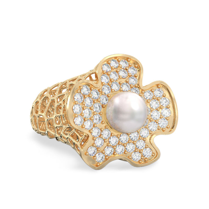 Coral Flower With Pearl Ring From Yellow Gold2