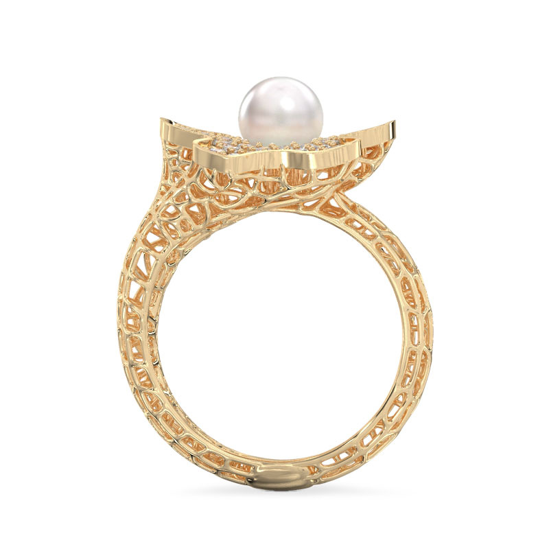 Coral Flower With Pearl Ring From Yellow Gold3