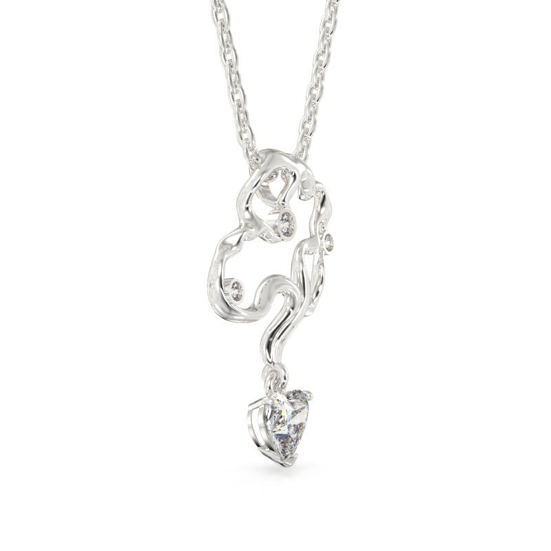 Corylus Form White Gold Pendant2