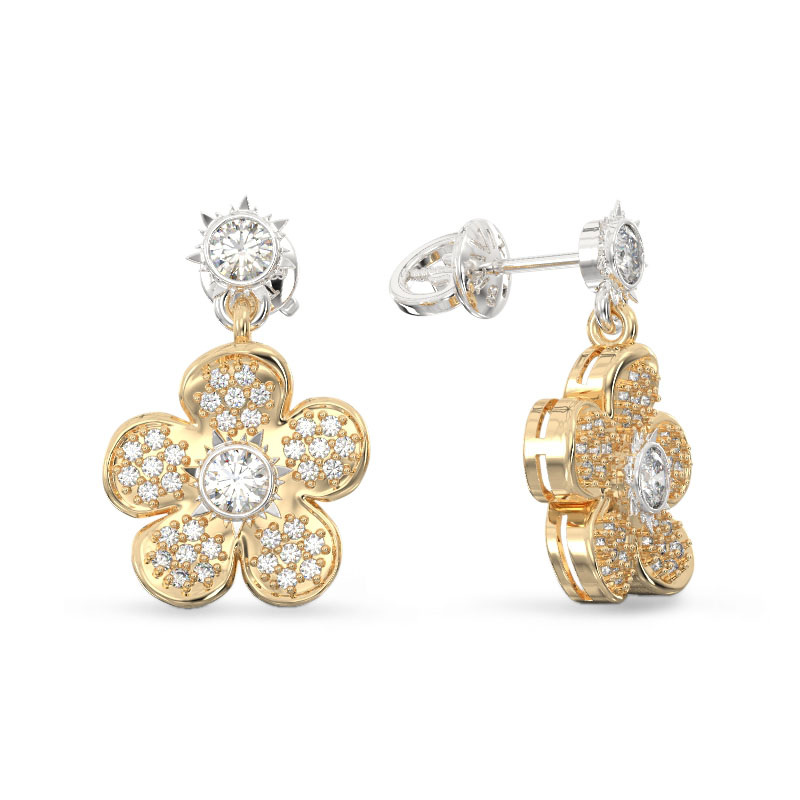 Forget me not Flower Earrings From Yellow Gold