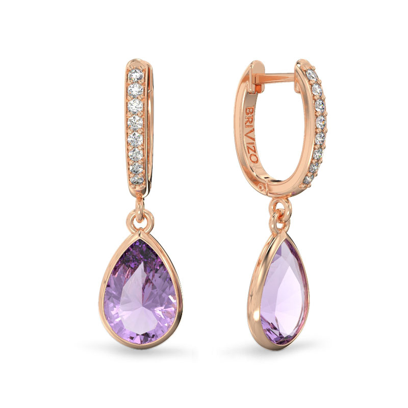 Rose Gold Earrings with Amethysts