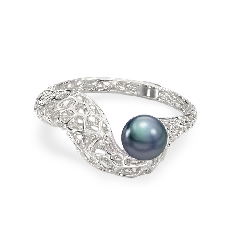 Snake with Pearl White Gold Ring 2