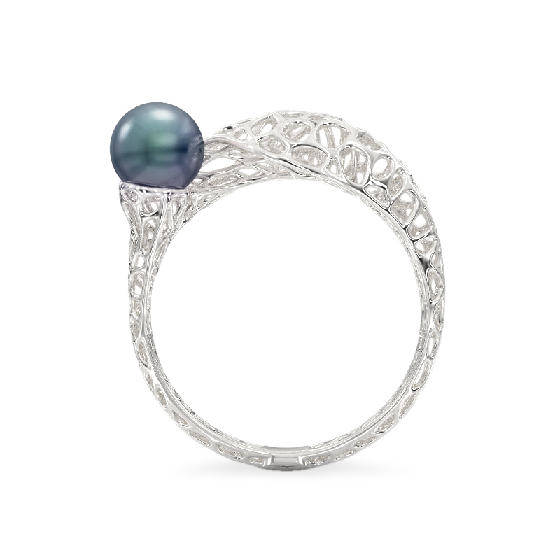 Snake with Pearl White Gold Ring 3