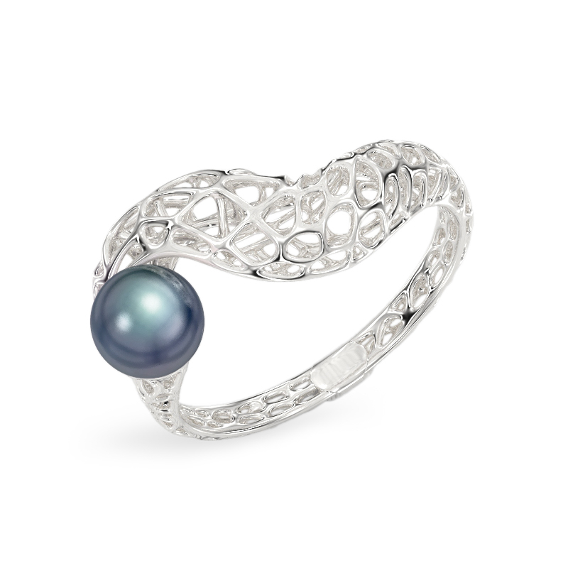 Snake with Pearl White Gold Ring