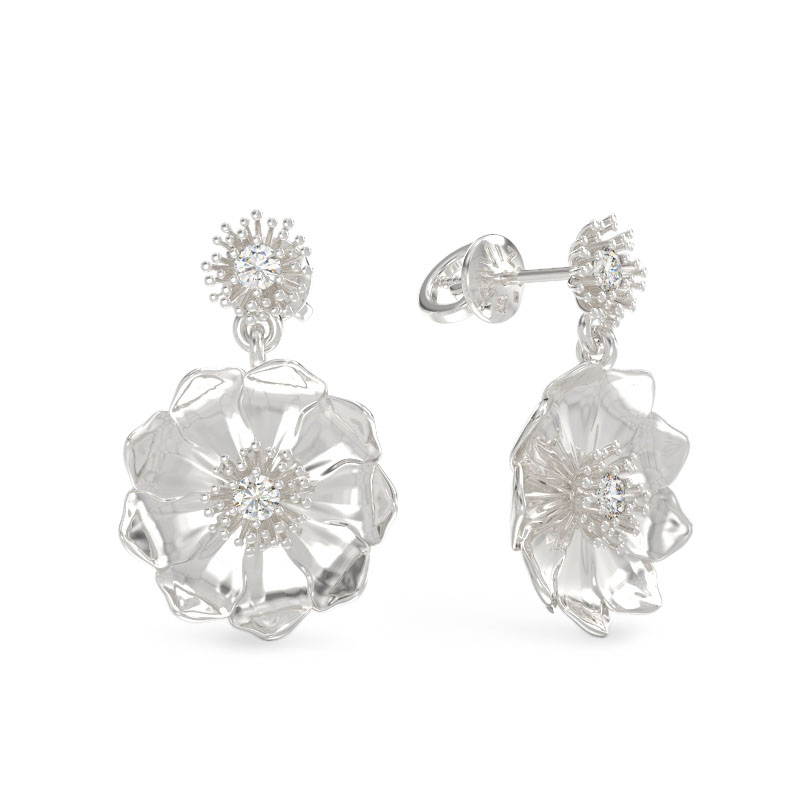 White gold earrings flowers